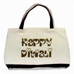 Happy Diwali Greeting Cute Hearts Typography Festival Of Lights Celebration Basic Tote Bag (two Sides) by yoursparklingshop