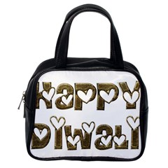 Happy Diwali Greeting Cute Hearts Typography Festival Of Lights Celebration Classic Handbags (one Side) by yoursparklingshop