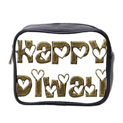 Happy Diwali Greeting Cute Hearts Typography Festival Of Lights Celebration Mini Toiletries Bag 2 Side by yoursparklingshop