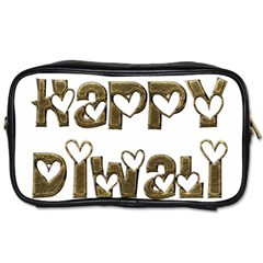 Happy Diwali Greeting Cute Hearts Typography Festival Of Lights Celebration Toiletries Bags 2 Side by yoursparklingshop