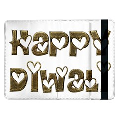 Happy Diwali Greeting Cute Hearts Typography Festival Of Lights Celebration Samsung Galaxy Tab Pro 12 2  Flip Case by yoursparklingshop