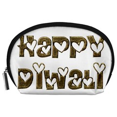 Happy Diwali Greeting Cute Hearts Typography Festival Of Lights Celebration Accessory Pouches (large)  by yoursparklingshop