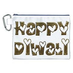 Happy Diwali Greeting Cute Hearts Typography Festival Of Lights Celebration Canvas Cosmetic Bag (xxl) by yoursparklingshop