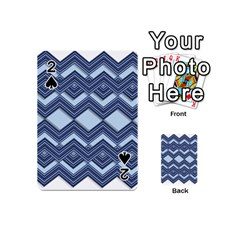 Textile Texture Fabric Zigzag Blue Playing Cards 54 (Mini)  by Zeze