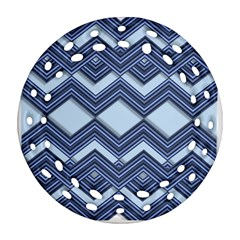 Textile Texture Fabric Zigzag Blue Ornament (Round Filigree)  by Zeze