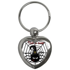Halloween Cute Spider Key Chains (heart)  by Valentinaart