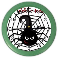 Halloween Cute Spider Color Wall Clocks by Valentinaart