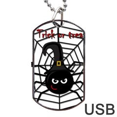 Halloween Cute Spider Dog Tag Usb Flash (one Side) by Valentinaart