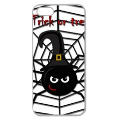 Halloween Cute Spider Apple Seamless Iphone 5 Case (clear) by Valentinaart