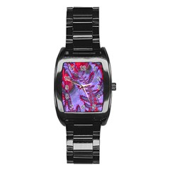 Freaky Friday Red  Lilac Stainless Steel Barrel Watch by Fractalworld