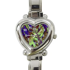 Freaky Friday, Blue Green Heart Italian Charm Watch by Fractalworld