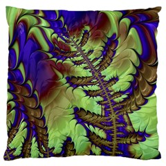 Freaky Friday, Blue Green Large Cushion Case (one Side) by Fractalworld