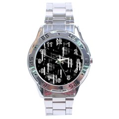 Black and white neon city Stainless Steel Analogue Watch