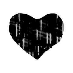Black And White Neon City Standard 16  Premium Heart Shape Cushions by Valentinaart