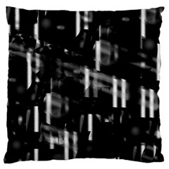 Black And White Neon City Large Flano Cushion Case (one Side) by Valentinaart