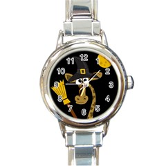 Halloween Giraffe Witch Round Italian Charm Watch by Valentinaart