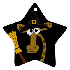 Halloween Giraffe Witch Ornament (star)  by Valentinaart