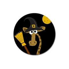 Halloween Giraffe Witch Magnet 3  (round) by Valentinaart
