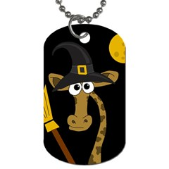 Halloween giraffe witch Dog Tag (One Side) by Valentinaart