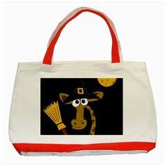 Halloween Giraffe Witch Classic Tote Bag (red) by Valentinaart