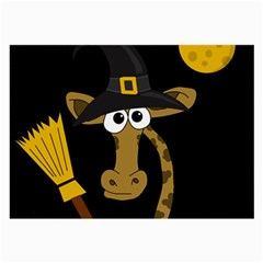 Halloween Giraffe Witch Large Glasses Cloth (2 Side) by Valentinaart