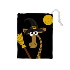 Halloween Giraffe Witch Drawstring Pouches (medium)  by Valentinaart