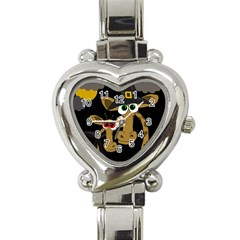 Giraffe Halloween Party Heart Italian Charm Watch by Valentinaart