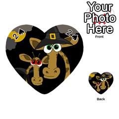 Giraffe Halloween Party Playing Cards 54 (heart)  by Valentinaart