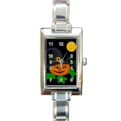 Halloween Witch Pumpkin Rectangle Italian Charm Watch by Valentinaart