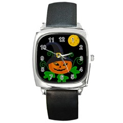 Halloween Witch Pumpkin Square Metal Watch by Valentinaart