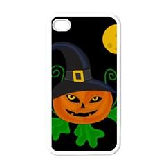 Halloween Witch Pumpkin Apple Iphone 4 Case (white) by Valentinaart