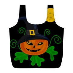 Halloween Witch Pumpkin Full Print Recycle Bags (l)  by Valentinaart