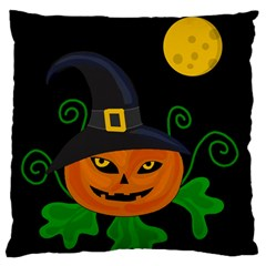 Halloween Witch Pumpkin Large Flano Cushion Case (two Sides) by Valentinaart