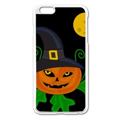 Halloween Witch Pumpkin Apple Iphone 6 Plus/6s Plus Enamel White Case by Valentinaart
