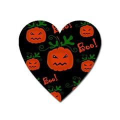 Halloween Pumpkin Pattern Heart Magnet by Valentinaart