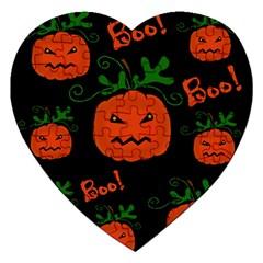 Halloween Pumpkin Pattern Jigsaw Puzzle (heart) by Valentinaart
