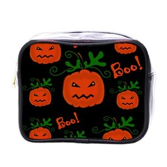 Halloween Pumpkin Pattern Mini Toiletries Bags by Valentinaart