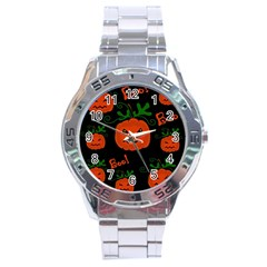 Halloween Pumpkin Pattern Stainless Steel Analogue Watch by Valentinaart