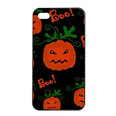 Halloween Pumpkin Pattern Apple Iphone 4/4s Seamless Case (black) by Valentinaart
