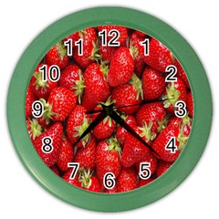 Red Fruits Color Wall Clocks by AnjaniArt