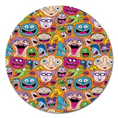 Smiley Pattern Magnet 5  (round)