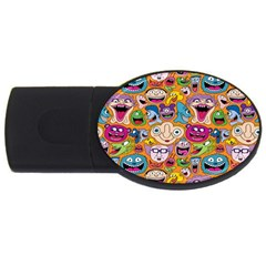 Smiley Pattern Usb Flash Drive Oval (2 Gb)  by AnjaniArt