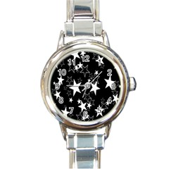 Star Black White Round Italian Charm Watch by AnjaniArt