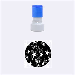 Star Black White Rubber Round Stamps (small) by AnjaniArt