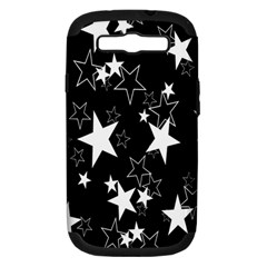 Star Black White Samsung Galaxy S Iii Hardshell Case (pc+silicone) by AnjaniArt