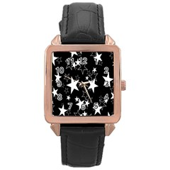 Star Black White Rose Gold Leather Watch  by AnjaniArt