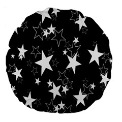 Star Black White Large 18  Premium Flano Round Cushions by AnjaniArt