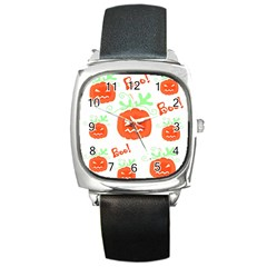 Halloween Pumpkins Pattern Square Metal Watch by Valentinaart
