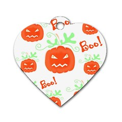 Halloween Pumpkins Pattern Dog Tag Heart (two Sides) by Valentinaart
