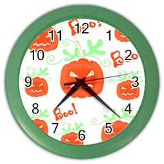 Halloween Pumpkins Pattern Color Wall Clocks by Valentinaart